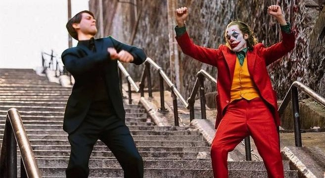 peter parker and joker dancing on stairs meme